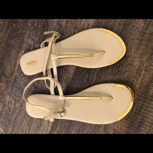 White and gold flats
